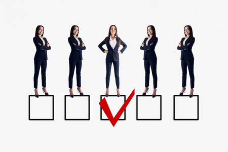Row of businesswomen on white background with one red tick in box. Talent search and HR concept