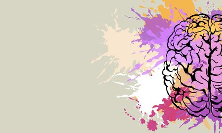 Creative colorful splatter brain doodle on subtle background. Brainstorm and art concet. 3D Rendering