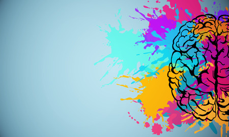 Cerebro de salpicaduras de colores creativos dibujando sobre un fondo sutil. Lluvia de ideas y concet arte. Representación 3D Foto de archivo