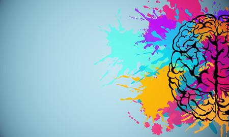 Creative colorful splatter brain drawing on subtle background. Brainstorm and art concet. 3D Rendering Archivio Fotografico