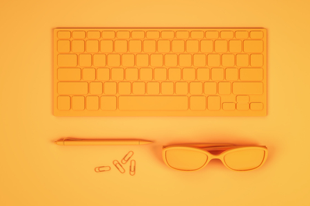 Top view of abstract neon orange workplace with keyboard, glasses and supplies. Design concept. 3D Rendering Stock Photo