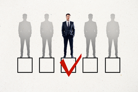 Faded row of businessmen on white background with one red tick in box. Talent search and HR concept