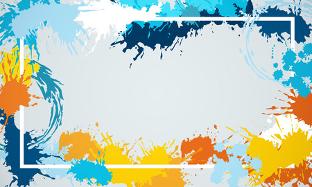 Splash colorful rectangular banner. Mock up. 3D Rendering