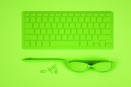 Top view of abstract neon green workplace with keyboard, glasses and supplies. Design concept. 3D Rendering
