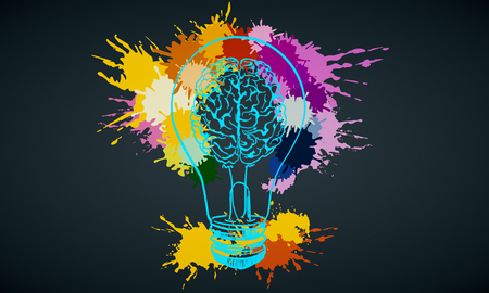 Creative hand drawn colorful splatter paint brain lamp on black background. Idea and innovation concept. 3D Rendering