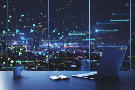 Close up of laptop, coffee cup and notepad in dark office with night city view and big data arrows pattern. Technology and innovation concept. Double exposure