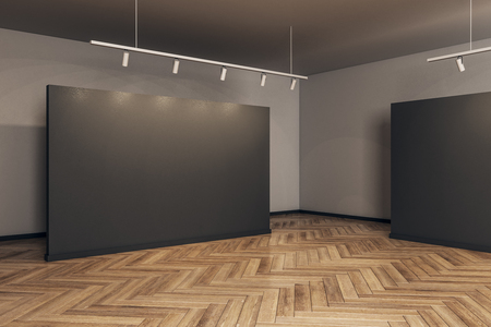 Modern gallery interior with empty frame and wooden floor. Museum and exhibition concept. Mock up, 3D Rendering 스톡 콘텐츠