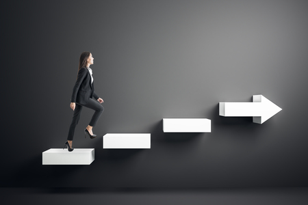 Side view of young businesswoman climbing abstract white arrow ladder on black background. Growth and success concept.