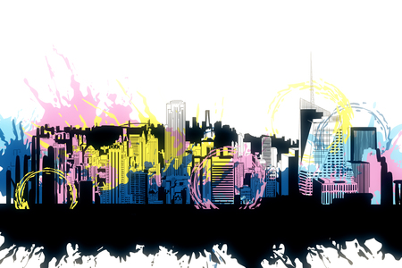 Creative bright city sketch with colorful ink splatter on subtle white background. 3D Rendering 版權商用圖片 - 124293678