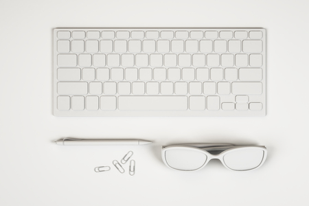 Top view of abstract white workplace with keyboard, glasses and supplies. Design concept. 3D Rendering
