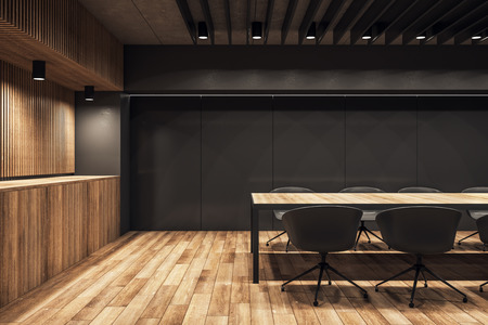 Luxury wooden conference room interior with furniture and lights. Workplace and presentation concept. 3D Rendering