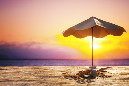 Bright beach background with sand, chaise longs, umbrella and sunlight. Creativity and nature concept