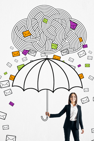 Happy young businesswoman protecting himself from email cloud rain with drawn umbrella. Communication overload concept