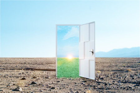 Creative opportunity door on abstract outdoor sky landscape background. Success and access concept