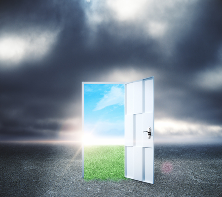 Creative opportunity door on abstract outdoor sky landscape background. Success and dream concept Stock fotó