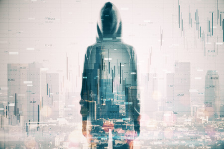 Hacker on rooftop with city view and forex chart. Hacking and trade concept. Multiexposure Banco de Imagens