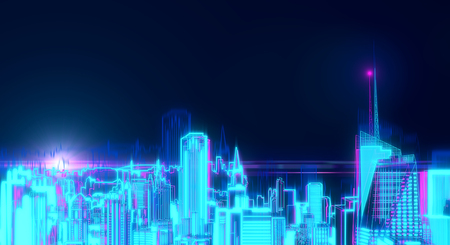 Digital glowing New York city hologram on dark background. Urban and technology concept. 3D Rendering