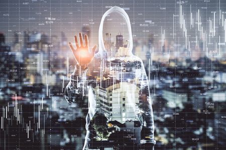 Front view of young hacker on bright night Kuala Lumpur city background with big data background. Technology and hacking concept. Double exposure Stok Fotoğraf - 124293796