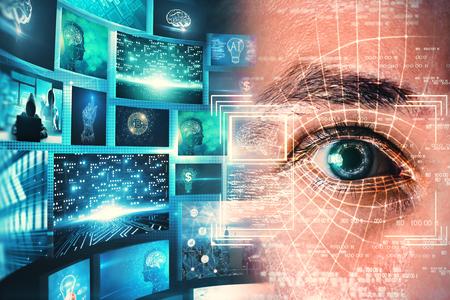 Access and technology concept. Abstract man portrait with face ID eye interface om blurry blue background. Double exposure