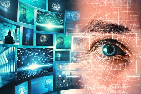 Concept d'accès et de technologie. Portrait d'homme abstrait avec interface oculaire d'identification de visage sur fond bleu flou. Double exposition Banque d'images