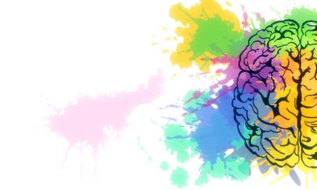 Creative colorful splatter brain sketch on subtle background. Brainstorm and art concet. 3D Rendering Banco de Imagens