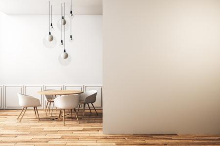 Modern klassiek café-interieur met meubels, lampen en kopieerruimte aan de muur. Stijl en ontwerpconcept. 3D-rendering