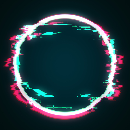 Abstract glowing glitch geomtric figure circle. Web design concept. 3D Rendering 스톡 콘텐츠