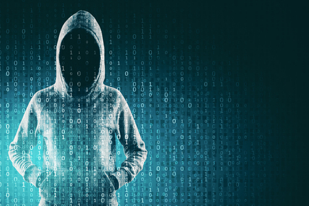Phishing and computing concept. Hacker in hoodie with creative binary code. Double exposure