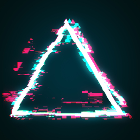 Abstract glowing glitch geomtric figure triangle. Web design concept. 3D Rendering