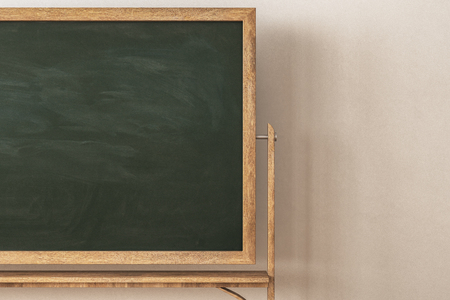 Contemporary classroom interior with empty blackboard. Education and school concept. Mock up, 3D Rendering Stock Photo