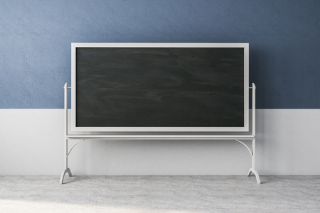 Contemporary blue classroom interior with empty chalkboard. Education and school concept. Mock up, 3D Rendering