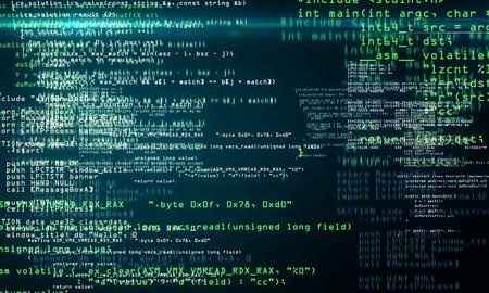 Kreativer verschwommener Programmierhintergrund mit HTML-Text. Computer- und Codierungskonzept. 3D-Rendering Standard-Bild