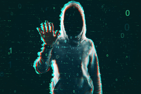 Virus and computing concept. Hacker in hoodie with creative binary code. Double exposure