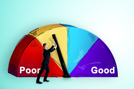 Businessman with abstract poor and good pie chart on subtle background. Growth and success concept