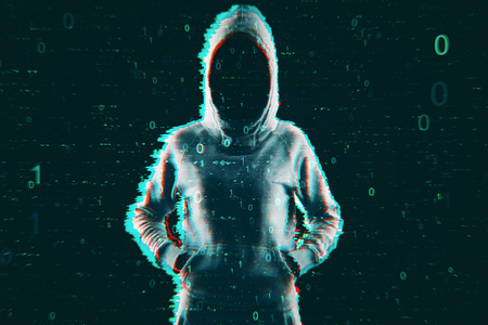 Theft and computing concept. Hacker in hoodie with creative binary code. Double exposure