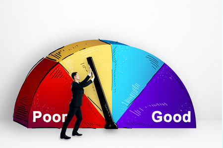 Businessman with abstract poor and good pie chart on subtle background. Development and success concept