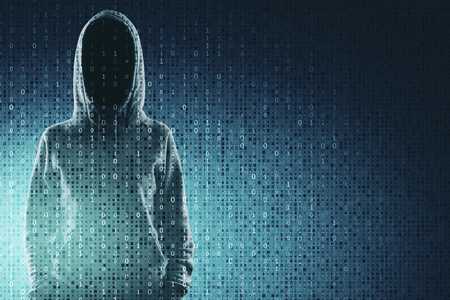 Hacking and computing concept. Hacker in hoodie with creative binary code. Double exposure