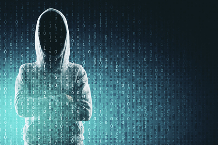 Criminal and computing concept. Hacker in hoodie with creative binary code. Double exposure