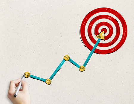 Hand drawing creative bulls eye target with arrow. Leadership and aiming concept