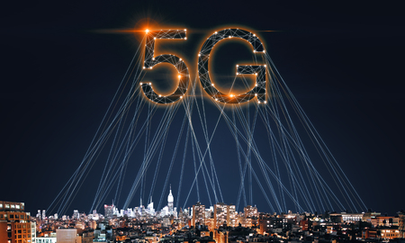 Creative 5G internet on night city backdrop with connections. Web network concept. Double exposure