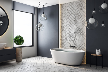 Contemporary bathroom interior with city view and copy space on wall. 3D Rendering