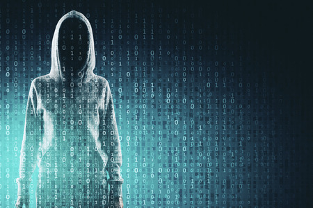 Malware and computing concept. Hacker in hoodie with creative binary code. Double exposure