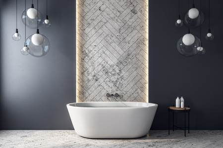 Modern grey bathroom interior with decorative tile wall, bath tub and lamps. 3D Rendering Archivio Fotografico - 124294316