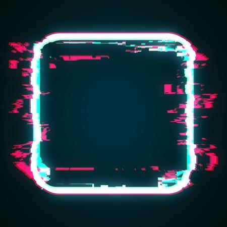 Creative glowing glitch geomtric figure square. Web design concept. 3D Rendering