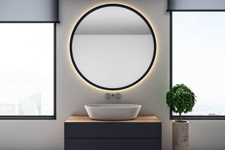 Luxury bathroom interior with round mirror and copy space, city view and daylight. 3D Rendering