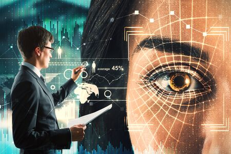 Hacker with biometric interface face ID. User and hud concept. Double exposure
