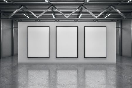 Simple concrete warehouse exhibition hall interior with empty poster. Mock up, 3D Rendering