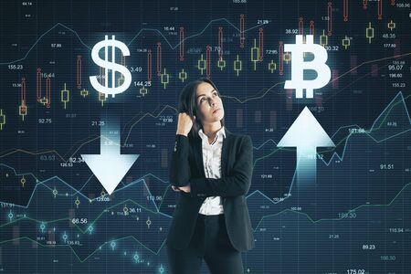 Sell and buy concept. Pensive young businesswoman making decision on abstract forex chart grid background