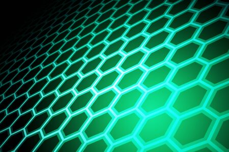 Creative glowing green hexagonal background. Design and technology concept. 3D Rendering Banco de Imagens