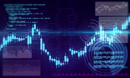 Invest and economy concept. Creative glowing forex chart background. 3D Rendering Imagens